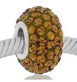 Abalorio redondo piedras miel