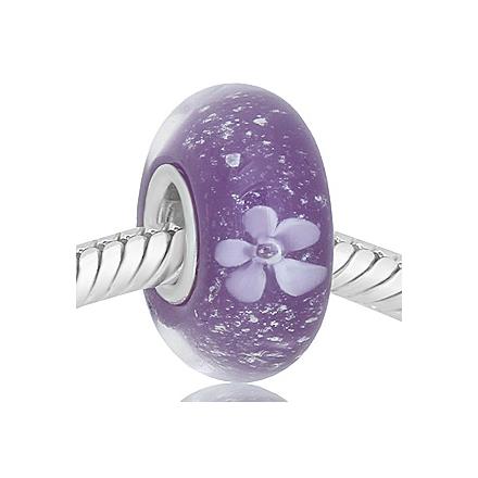 Cristal de murano morado con flores