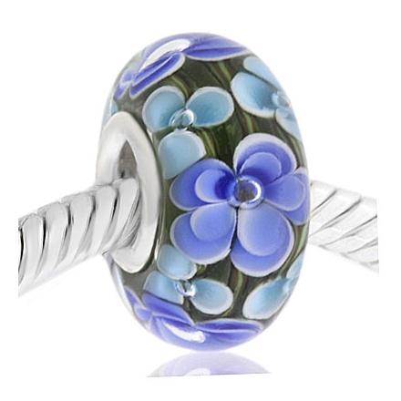 CRISTAL de MURANO azul flor blanca