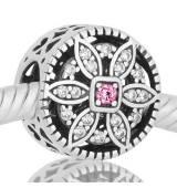 Abalorio flor piedra rosa y blancas