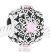 Abalorio piedra rosa y blancas