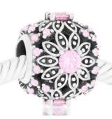 Abalorio Flor grande piedras rosa