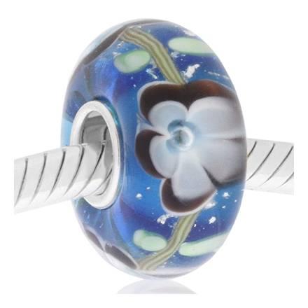 cristal de murano azul marino flor gris