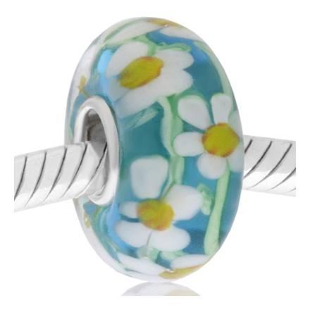 cristal de murano azul carito y margaritas
