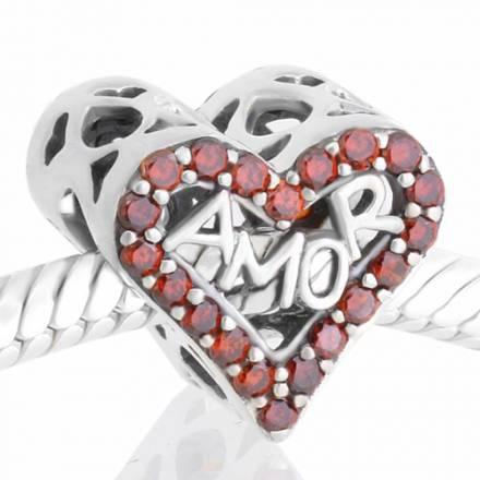 abalorio corazon love piedras rojas