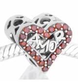 Abalorio corazon amor piedras rojas