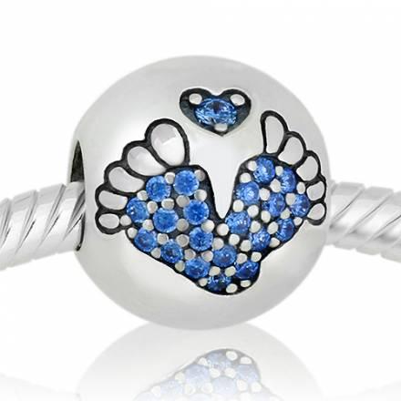 Abalorio huellas de pies bebe piedras azules
