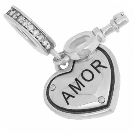 colgante corazon y llave amor