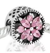 Abalorio flor piedras rosa