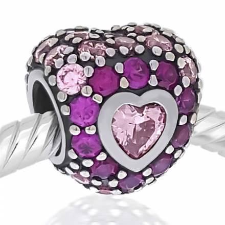 Abalorio corazon piedras rosa y fucsia