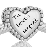 Abalorio corazon grande con su nombre grabado