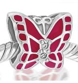 Mariposa esmalte rosa y piedras