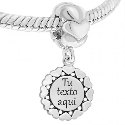 Abalorio personalizable de plata para pulsera pandora