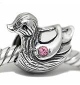 ABALORIOS pato con piedra rosa