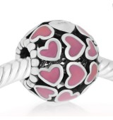 Redondo corazones esmalte rosa