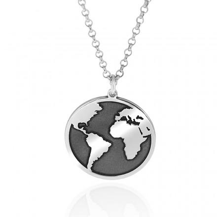Colgante bola del mundo de plata