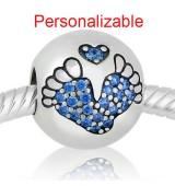 Huellas de pies bebe piedras azules perosnalizable con nombre y fecha