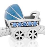 Coche de bebe azul piedras