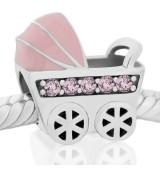 Coche de bebe rosa piedras