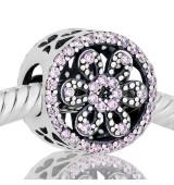 Abalorio flor con piedras rosa